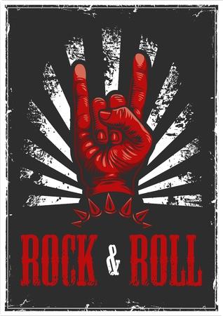 Illustration pour Hand in rock n roll sign illustration - image libre de droit