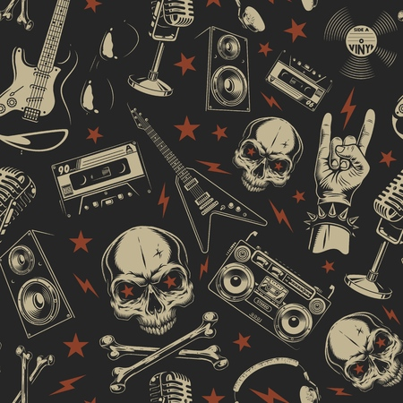 Illustration pour Grunge seamless pattern with skulls - image libre de droit
