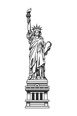 Ilustración de Vintage Statue of Liberty template - Imagen libre de derechos