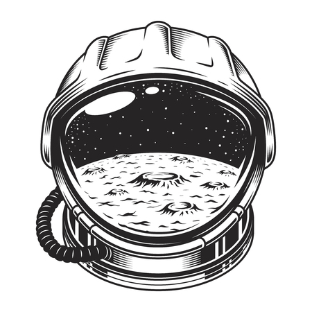 Ilustración de Vintage space helmet concept - Imagen libre de derechos