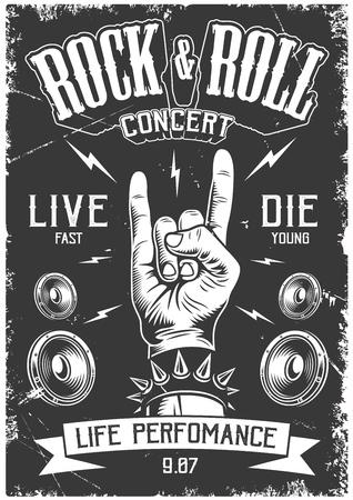 Illustration pour Rock and roll poster - image libre de droit