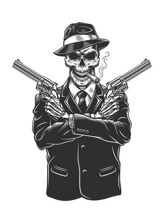 Illustrazione per Skeleton gangster with revolvers - Immagini Royalty Free