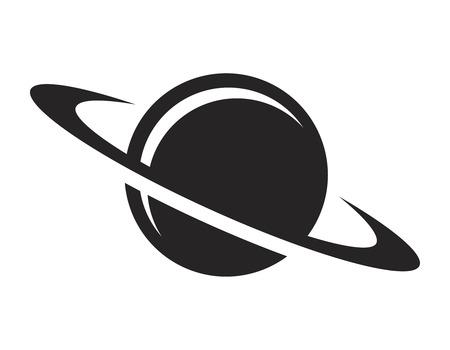 Ilustración de Vintage black saturn planet icon - Imagen libre de derechos