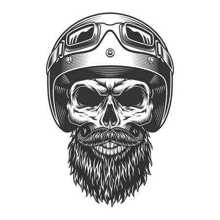 Illustration pour Monochrome vintage skull - image libre de droit