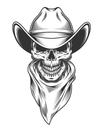 Illustrazione per Monochrome vintage skull - Immagini Royalty Free