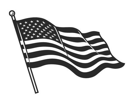 Illustration pour Monochrome American flag template - image libre de droit