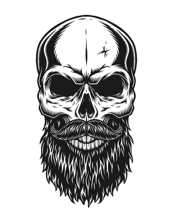 Illustration pour Vintage trendy bald hipster skull template - image libre de droit