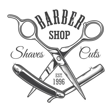 Ilustración de Vintage hairdresser salon label with barber scissors and razor blade isolated vector illustration - Imagen libre de derechos