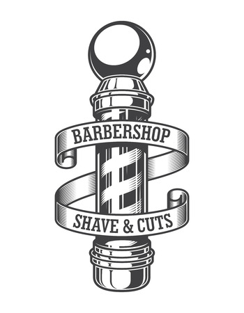 Illustration for Vintage monochrome barbershop emblem with barber pole and inscriptions on ribbon isolated - Royalty Free Image