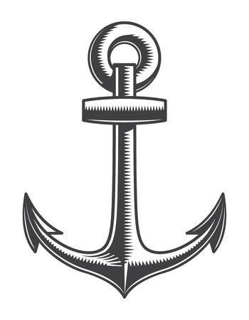 Illustration pour Vintage monochrome nautical anchor template - image libre de droit