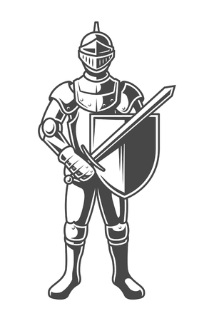 Ilustración de Vintage monochrome brave knight - Imagen libre de derechos