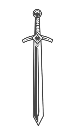 Illustration pour Vintage knight sword concept - image libre de droit