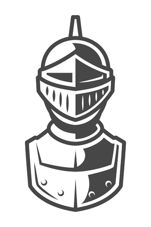 Ilustración de Knight metal helmet front view template - Imagen libre de derechos
