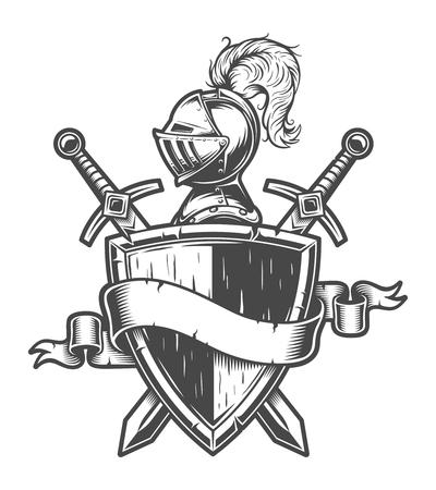 Ilustración de Vintage medieval knight emblem - Imagen libre de derechos