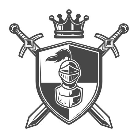 Ilustración de Vintage monochrome knight coat of arms - Imagen libre de derechos