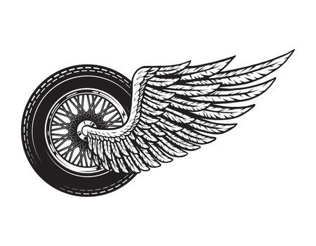 Illustration pour Vintage winged motorcycle wheel concept - image libre de droit