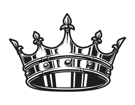 Illustration for Vintage monochrome royal crown template - Royalty Free Image