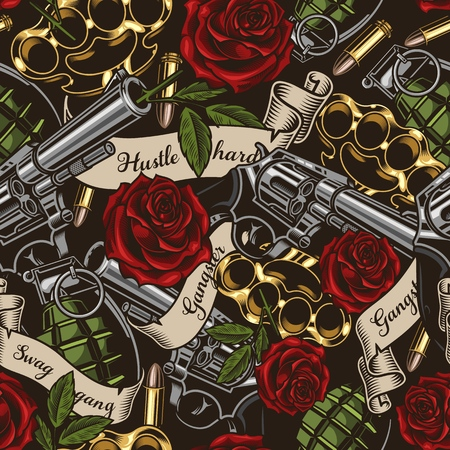 Illustration pour Seamless vector pattern. Vector illustration with revolvers, roses, and ribbons - image libre de droit