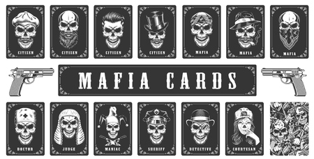 Ilustración de Cards for the mafia game. Vector illustration - Imagen libre de derechos
