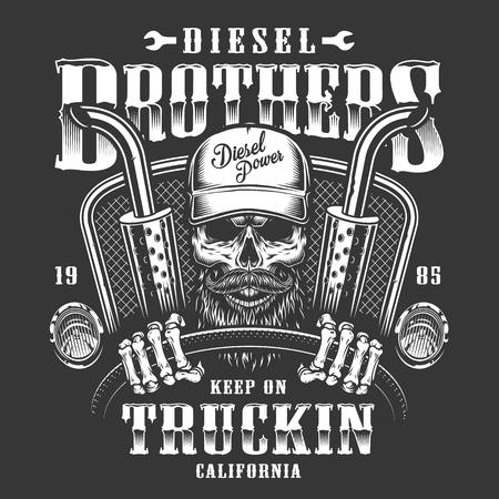 Ilustración de Skull trucker print - Imagen libre de derechos