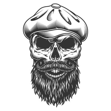 Illustration pour Skull in the tweed hat. - image libre de droit