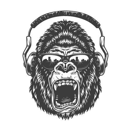 Ilustración de Gorilla with headphones - Imagen libre de derechos