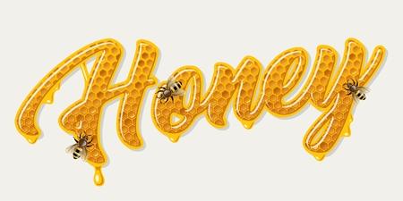 Ilustración de Honey comb lettering - Imagen libre de derechos