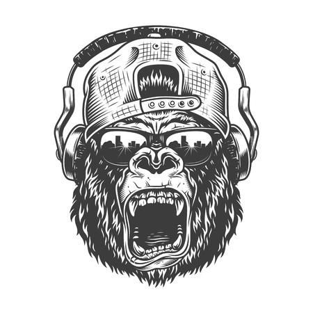 Illustration pour Hipster gorila face - image libre de droit