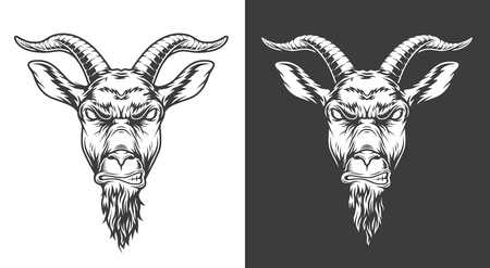 Illustration pour Monochrome goat icon - image libre de droit