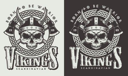 Ilustración de T-shirt print with viking head - Imagen libre de derechos