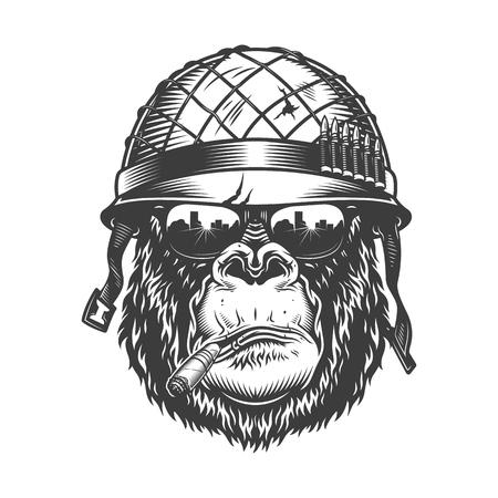 Illustration pour Gorilla head in monochrome style - image libre de droit