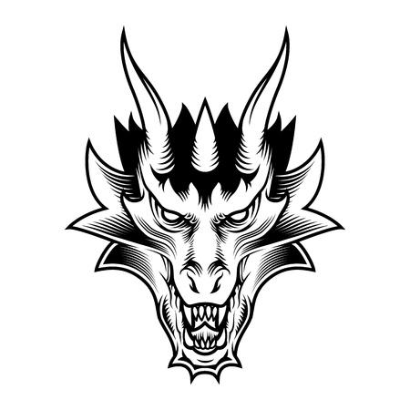 Illustration pour Dragon fantasy head - image libre de droit