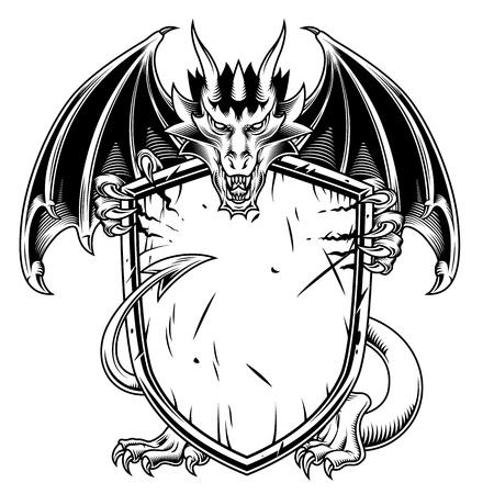 Ilustración de Fantasy dragon with warrior shield. Vector illustration - Imagen libre de derechos