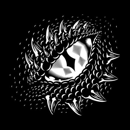 Ilustración de Monochrome dragon eye - Imagen libre de derechos