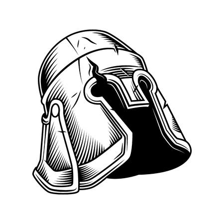 Illustration pour old vintage helmet isolated on white. Vector vintage illustration - image libre de droit
