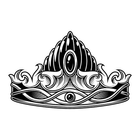 Illustration pour Monochrome vintage crown - image libre de droit