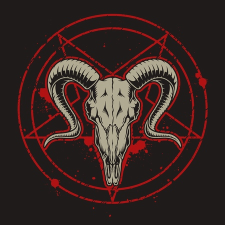Ilustración de Monochrome vintage emblems with goat skull. Vector retro illustration - Imagen libre de derechos