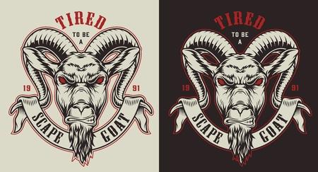 Ilustración de Emblems with goat - Imagen libre de derechos