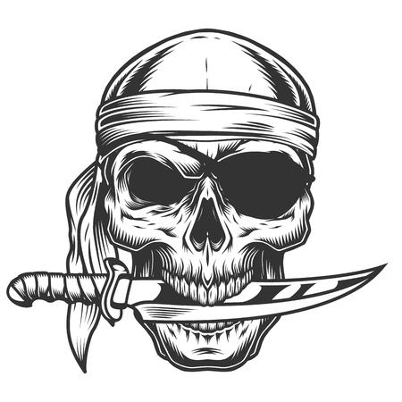 Ilustración de Skull with knife - Imagen libre de derechos
