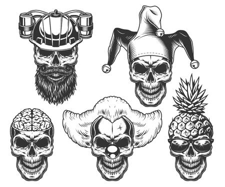 Illustrazione per Set of skull in fun headwear - Immagini Royalty Free