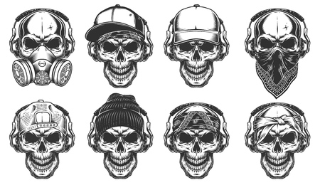 Illustration pour Set of hipster skulls - image libre de droit