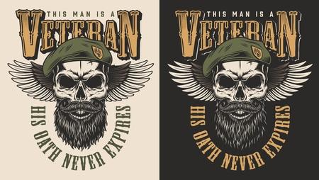 Ilustración de Veteran concept emblem - Imagen libre de derechos