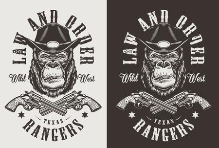 Ilustración de T-shirt print with gorilla sheriff concept. Vector illustration - Imagen libre de derechos