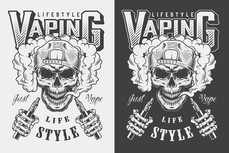 Ilustración de Vaping apparel design with skull. Vector illustration - Imagen libre de derechos