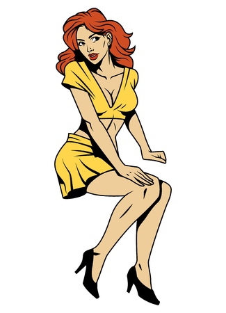 Ilustración de Vintage attractive pin up girl with red hair wearing yellow blouse skirt and black shoes isolated vector illustration - Imagen libre de derechos