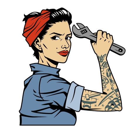 Ilustración de Vintage colorful pin up mechanic girl with tattoo on arm holding wrench isolated vector illustration - Imagen libre de derechos
