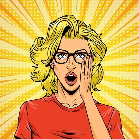 Ilustración de Comic surprised young woman concept with eyeglasses and blonde hair halftone radial rays effects vector illustration - Imagen libre de derechos