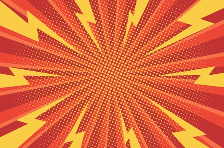 Illustration pour Comic abstract bright background with yellow lightnings halftone red radial humor effects vector illustration - image libre de droit