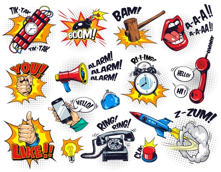 Ilustración de Comic bright elements composition with speech bubbles wordings halftone effects dynamite alarm clock button gavel bomb phone lips rocket hand gestures bulb megaphone purse vector illustration - Imagen libre de derechos