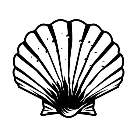 Ilustración de Vintage monochrome scallop seashell template isolated vector illustration - Imagen libre de derechos